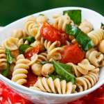 Roasted Tomato, Basil and Chickpea Pasta Salad