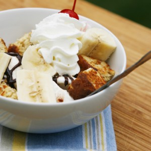Fudgy Banana Sundae with Banana Bread Croutons