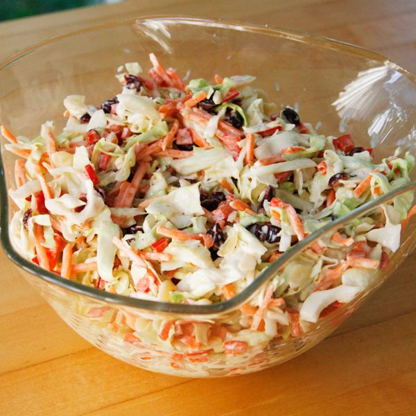 Tangy Cranberry Almond Coleslaw - Sarah's Cucina Bella