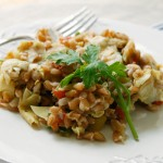Warm Farro with Roasted Artichoke Hearts, Tomatoes and Leeks