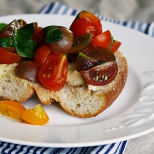 Brie Toast with Truffled Tomato Bruschetta