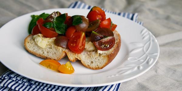 Brie Toast with Truffled Tomato Bruschetta