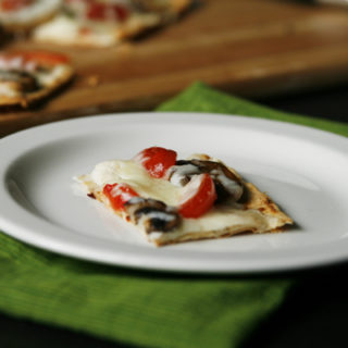 Mushroom Tomato Flatbread Pizza for Two