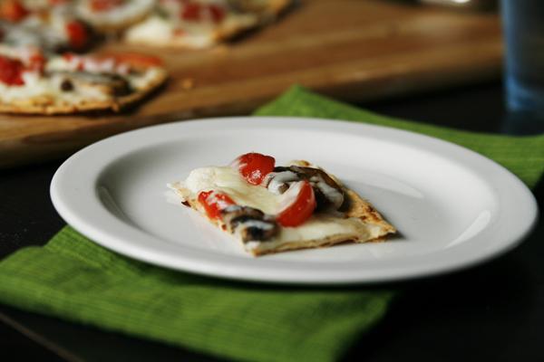 Mushroom Tomato Flatbread Pizza