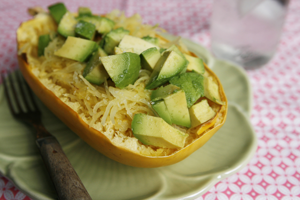 Roasted Spaghetti Squash with Avocado