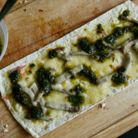 Two Cheese Steak Flatbread Pizza with Swiss Chard Chimichurri for Two