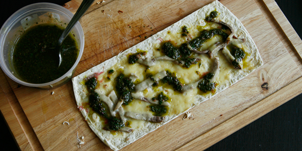 Two Cheese Steak Flatbread Pizza with Swiss Chard Chimichurri