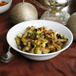 Roasted Brussels Sprouts with Onions, Bacon and Cranberries