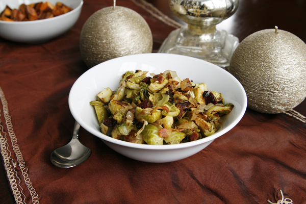 Stress-Free Thanksgiving: Roasted Brussels Sprouts with Onions, Bacon and Cranberries