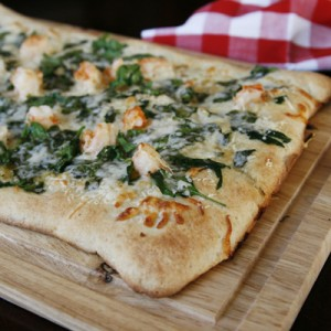 Garlicky Shrimp, Spinach and Asiago Pizza