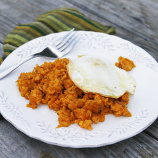 Sweet Potato Hash Browns with Olive Oil Fried Eggs