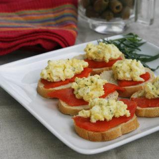 Smoked Salmon and Tarragon Egg Salad Crostini