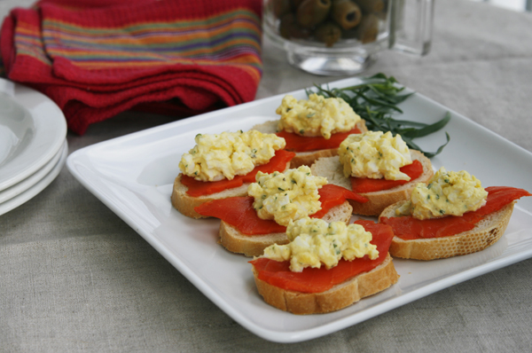 Smoked Salmon and Tarragon Egg Salad Crostini