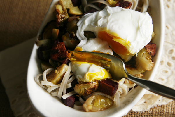 Roasted Veggies And Rice Noodles With Poached Egg Recipes — Dishmaps