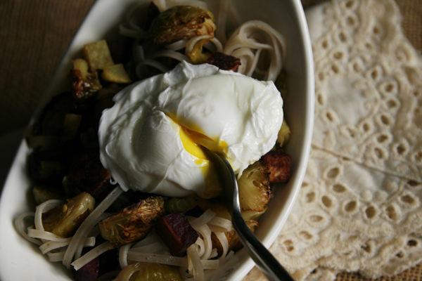 Roasted Veggies and Rice Noodles with Poached Egg