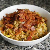 Sauteed Leeks with Bacon and Lentils