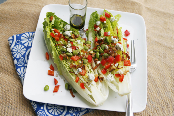 Garlicky Romaine Hearts Salad with Bacon, Walnuts and Blue Cheese