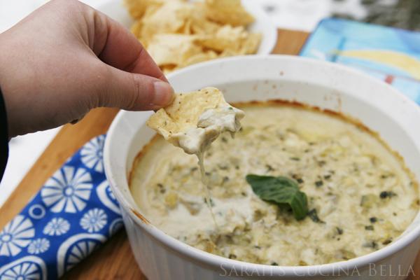 Creamy Artichoke Dip with Basil