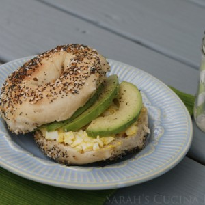 Avocado Egg Salad Everything Bagel Sandwich