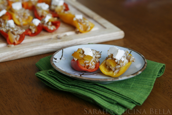 farro stuffed mini sweet pepper