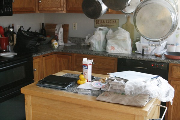 Decluttering the kitchen before photo