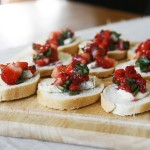 Grammy Snacks: Strawberry, Basil and Brie Bruschetta