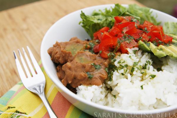 Veggie and Bean Rice Bowls with Lime Cilantro Vinaigrette