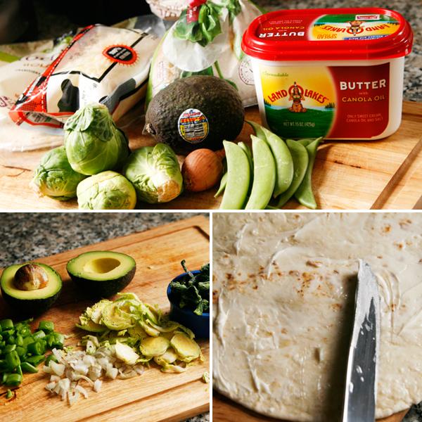 veggie quesadilla process