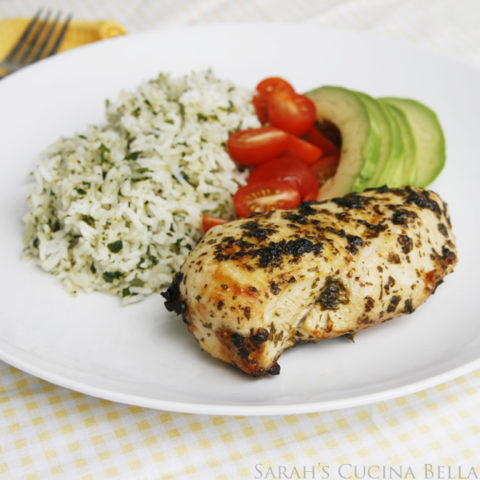 Cilantro Lime Chicken and Rice with Avocado and Tomatoes