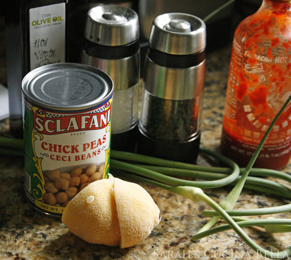 Garlic Scape Garbanzo Bean Dip Ingredients
