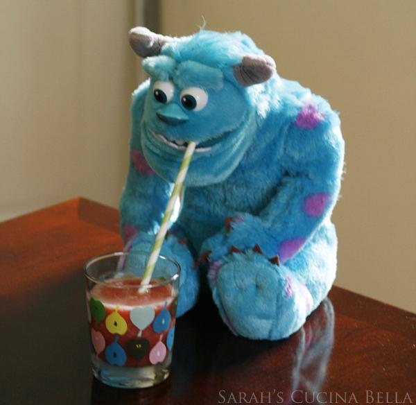Sully drinking a slushie
