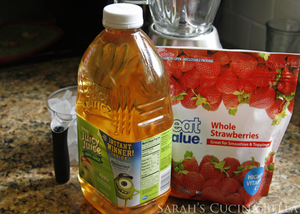 ingredients for apple strawberry slushies