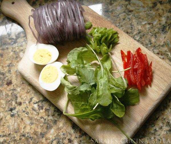 summer veggies for miso noodle soup