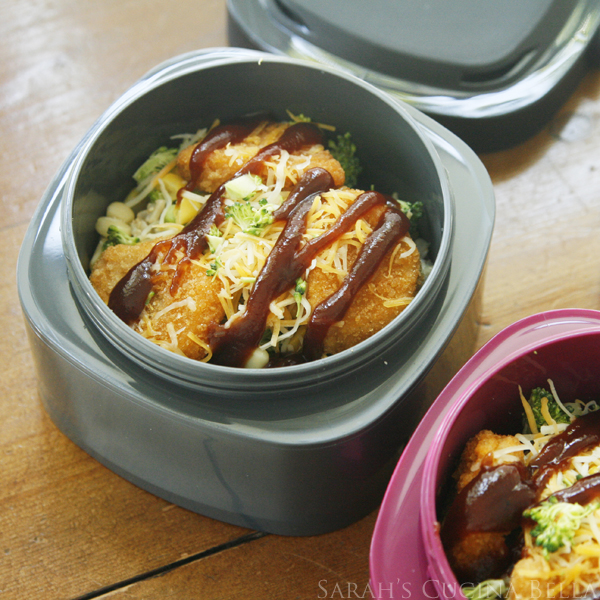 Barbecue Chicken and Veggie Rice Bowls for Lunchboxes