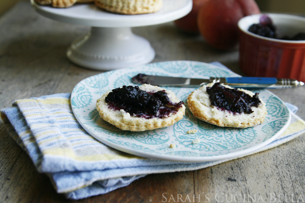 Peach Blueberry Jam on Biscuits
