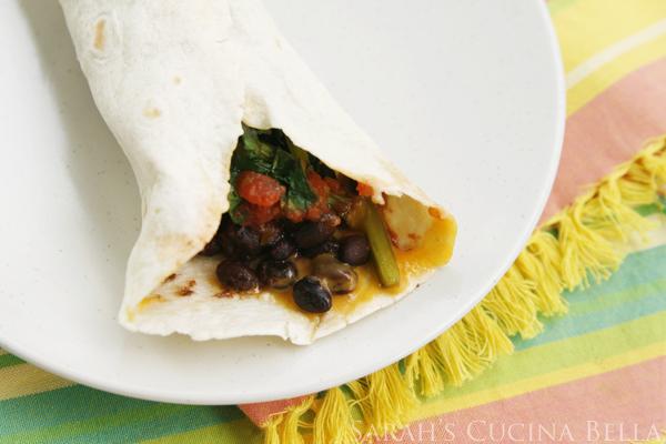 Beet Green Black Bean Burritos