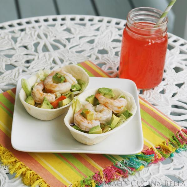 Shrimp Salad Soft Tacos with Chile and Roasted Garlic Vinaigrette