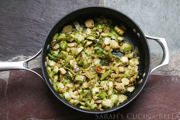 Pan Seared Shredded Brussels Sprouts and Apples