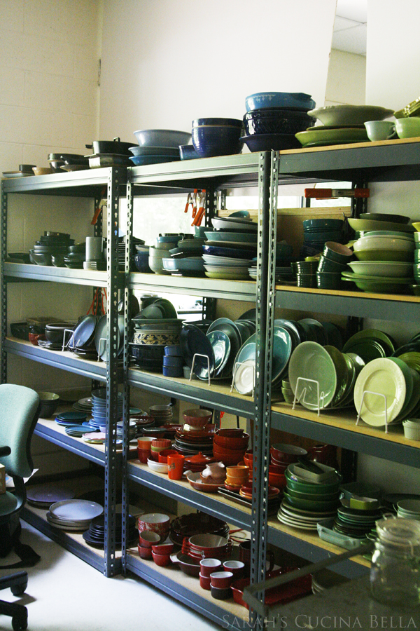 Storage Racks of Colored Plates in the Fine Cooking Studio