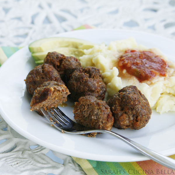 Spicy Taco Meatballs with Cheddar Mashed Potatoes and Avocado