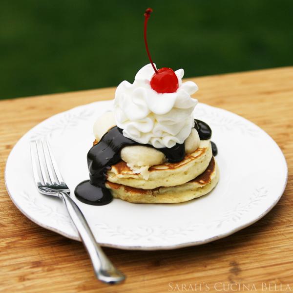 Banana Split Pancakes with Buttermilk Pancakes