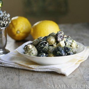 Lemon Garlic Herb Marinated Olives with Feta
