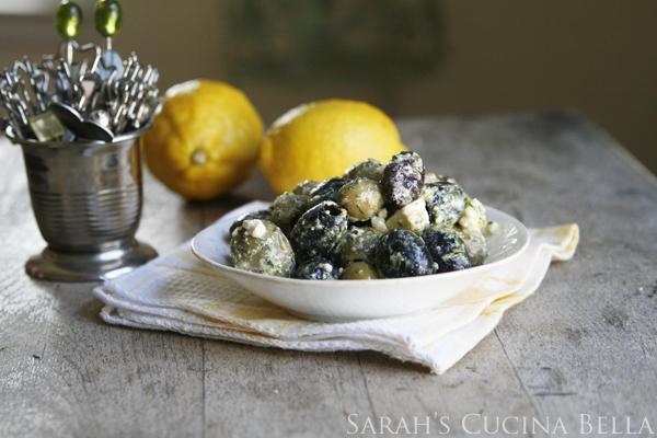 Lemon Garlic Herb Marinated Olives with Feta