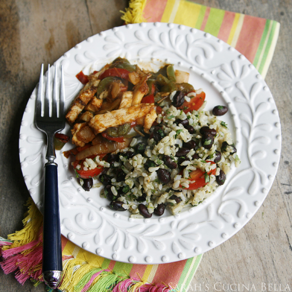 Lime Cilantro Black Beans and Brown Rice Overhead