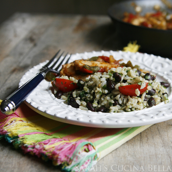 Easy Lime Cilantro Black Beans and Brown Rice