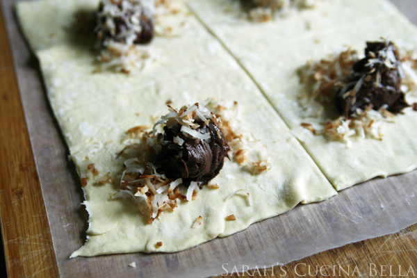 Making Chocolate Caramel Turnovers with Toasted Coconut
