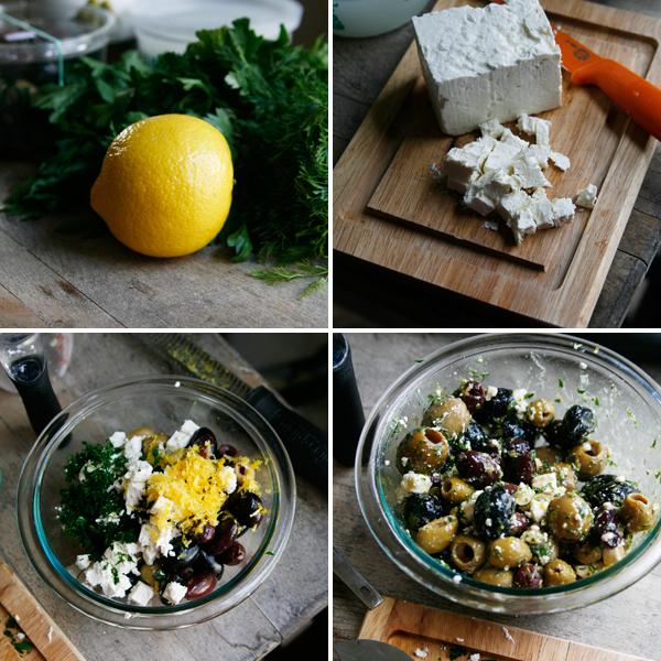 Making Lemon Garlic Herb Marinated Olives