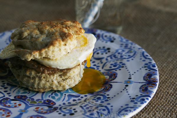 Sausage Egg Biscuit (on Herb Biscuits!)