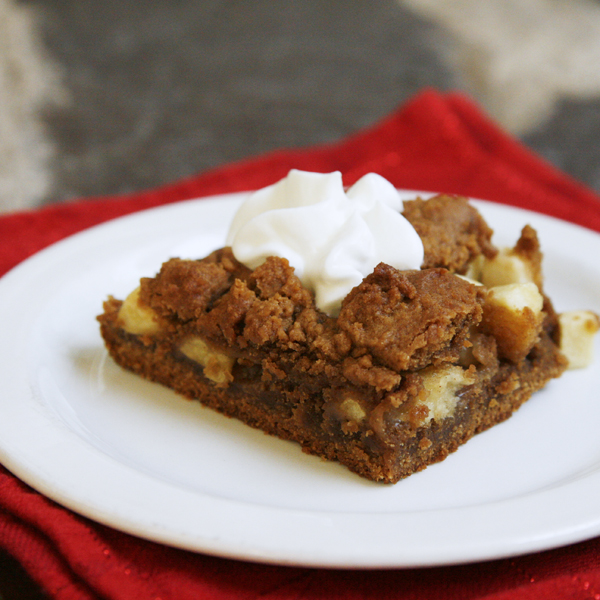 Apple Gingerbread Bars with Whipped Cream