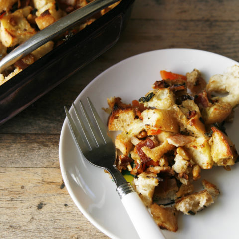 Bacon Walnut Ciabatta Stuffing